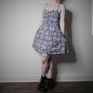 Navy & White Floral Print Strappy Fit & Flare